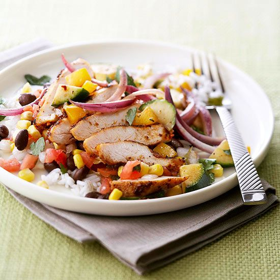 This new family favorite features chicken breasts, veggies, and beans: http://www.bhg.com/recipes/quick-easy/dinners-30-minutes-less/30-minute-heart-healthy-dinner-recipes/?socsrc=bhgpin041814southwestchickenskillet&page=22