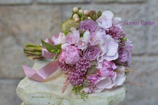 Flowers Garden, passion for colours: Buchet de mireasa cu trandafiri mov, bujori, horte...