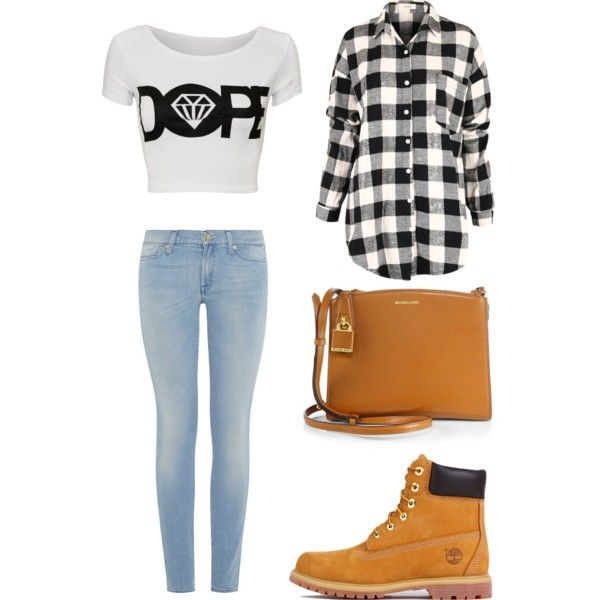 A fashion look from March 2015 featuring 7 For All Mankind jeans, Timberland boots and Michael Kors shoulder bags. Browse and shop related looks.