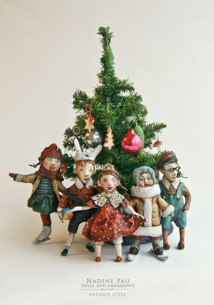"""funny kids"" (collection) by Nadine Pau. Christmas ornaments. Papier mache, oil patina varnish. Sold #christmasornaments #nadinepau"
