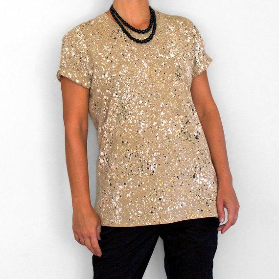 NATURAL SPECKLE. 100% cotton T shirt. Hand painted. Unique t shirts. Boyfriend / Free Fit t shirt.