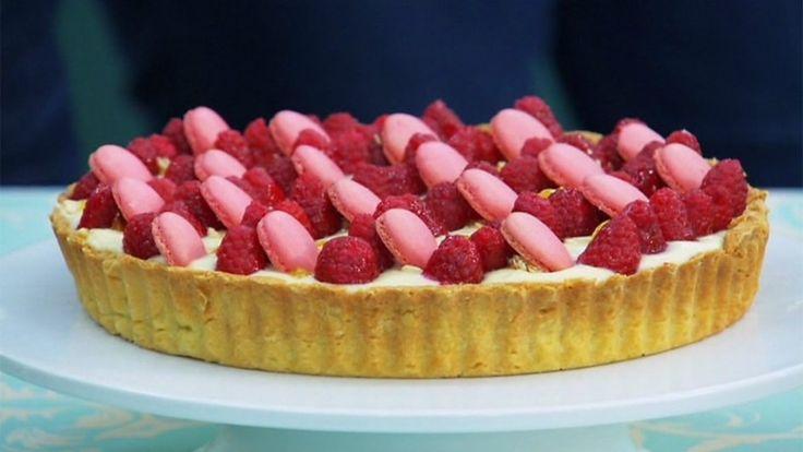 Rose, lychee and raspberry tart