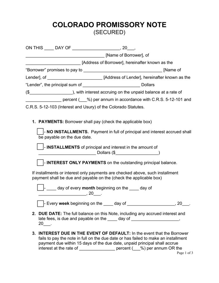 Free Colorado Secured Promissory Note Template - Word | PDF | eForms – Free Fillable Forms