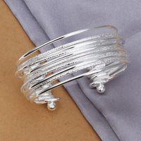 2015 joyería fina arena luz pulseras S925 plata Ziron moda de los brazaletes de puño para para envío gratis LKNSPCB194
