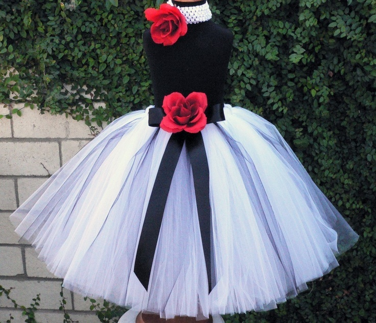"""Flower Girl Tutu Skirt - Beauty and Grace - Custom Sewn Black, White, Red Tutu - Up to 20"""" long - up to size 5T - For Christmas and Weddings. $58.00, via Etsy."""
