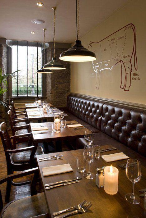 An interior shot of the Butchershop steakhouse in Glasgow, Scotland