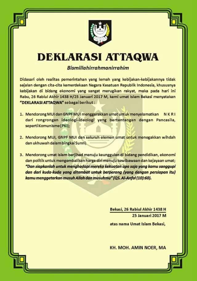 Muslim Bekasi nyatakan deklarasi At-Taqwa  BEKASI (Arrahmah.com) - Pondok Pesantren At-Taqwa sebagai representasi masyarakat Muslim Bekasi menetapkan Deklarasi At-Taqwa untuk kejayaan dan kebangkitan Umat Islam di Indonesia. Pernyataan tesebut disampaikan dalam acara Dialog Kebangsaan dan Deklarasi Umat Islam yang diadakan Pondok Pesantren At-Taqwa Bekasi Rabu (25/1/2017).  Turut hadir dalam acara ini Ketua Gerakan Nasional Pengawal Fatwa MUI (GNPF-MUI) Ustadz Bachtiar Natsir Ketua Yayasan…