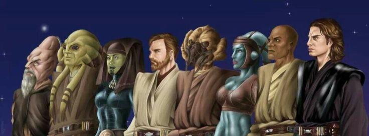Jedi Masters left to right - Ki-Adi Mundi, Kit Fisto, Luminara Unduli, Obi-Wan Kenobi, Plo Koon, Aayla Secura, Mace Windu, Anakin Skywalker