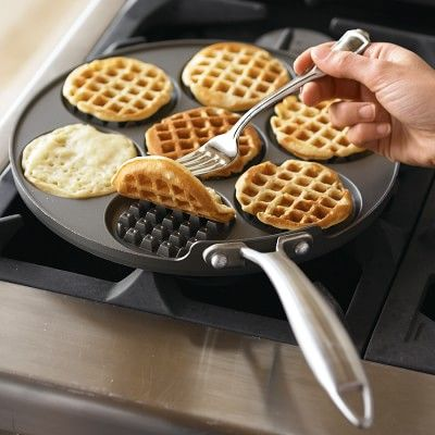 Nordic Ware Waffled Pancake Pan. I had this for about 2 yrs and always have perfect size waffle pancakes. Easy release, clean up, and it's flat for storage. #williamssonoma
