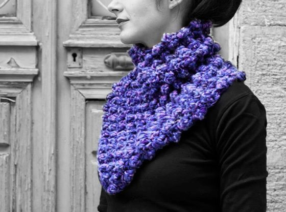 Neck warmer shades of purple by MmeDefargeYarnworks on Etsy