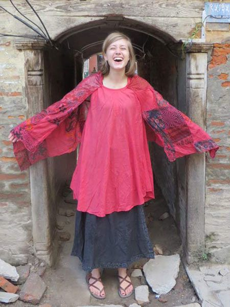 Gypsy cotton top from Kathmandu A truly unique style that will turn heads. It has a cotton scarf attached to it that can be used as a wrap around shawl #hippieclothing #fashion #style #freespirit #bohochick #festivalfashion