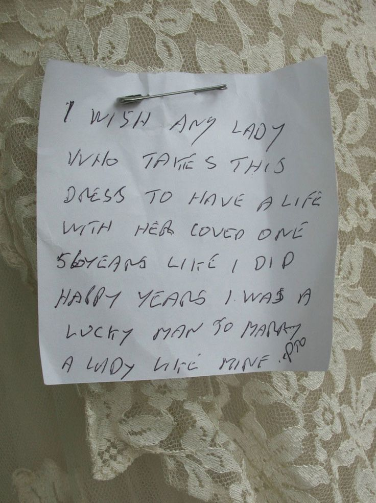 love-letter-pinned-wedding-dress-donated-charity-shop-ebay-goodhousekeepinguk