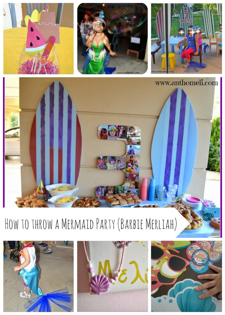 How to throw a mermaid party. Spec. Barbie Merliah Mermaid Party. Mermaid tails, crowns, ideas, buffet, invitations, party activities. For more visit www.anthomeli.com
