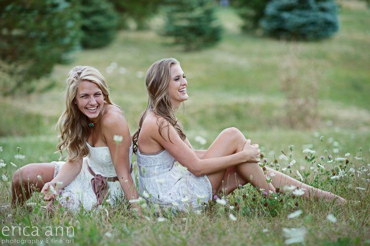 Best friends, senior photos, senior portraits, white lace, queen anne's lace, laughing girls