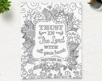 coloring page printable bible verse proverbs 35 trust in the lord instant download kids coloring pages printable bible quote art therapy