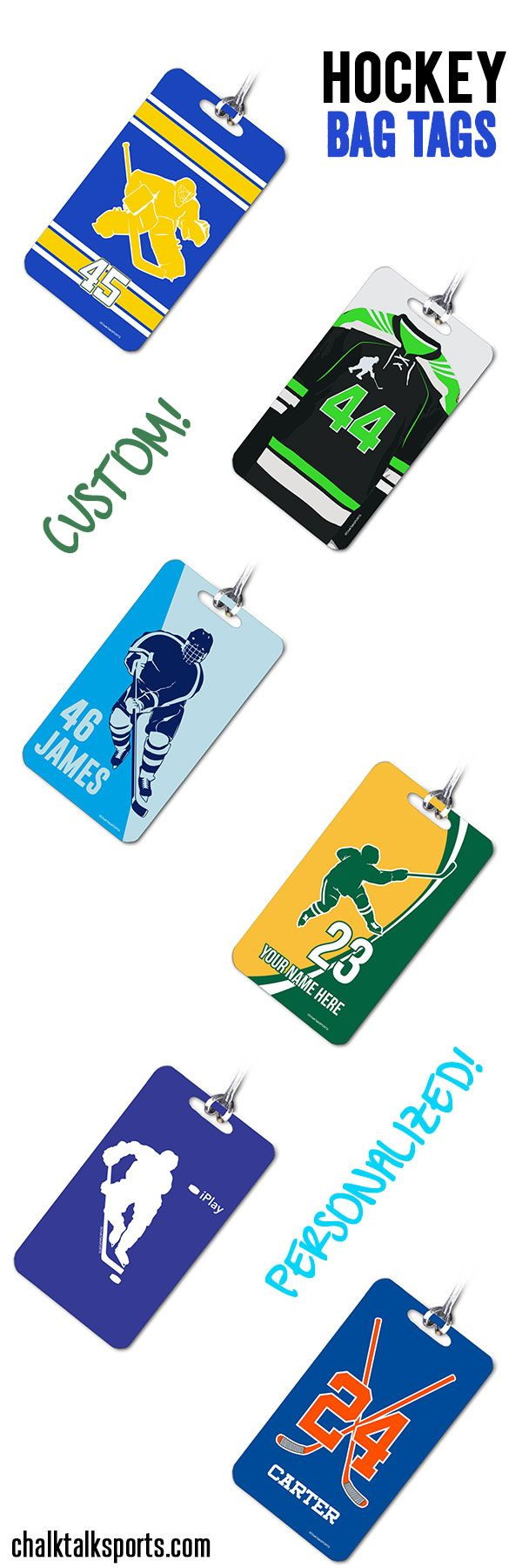 Our hockey bag tags make great gifts for hockey players, hockey teammates and even hockey coaches!  Head to ChalkTalkSPORTS.com to personalize a custom hockey bag tag as the next gift for your favorite hockey player!