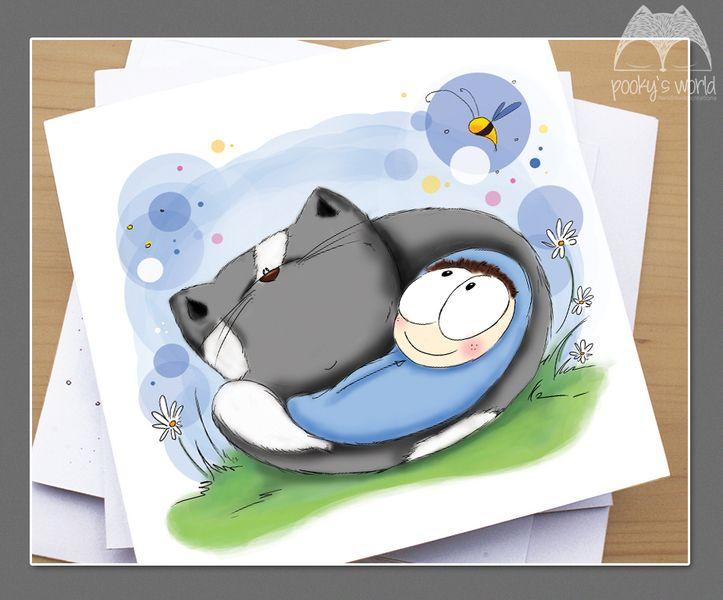 Karteczka na chrzciny / narodziny dziecka BOY - pookysworld - Kartki miłosne