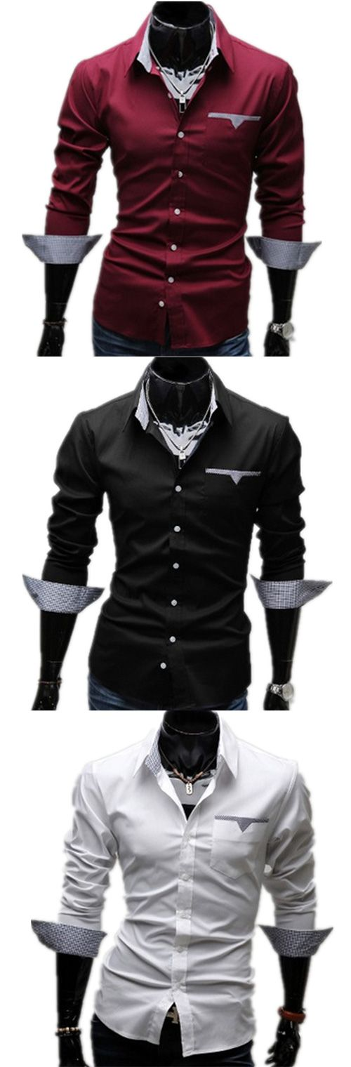 Men's Formal Casual/Daily Work Plus Size Simple Spring Fall Shirt