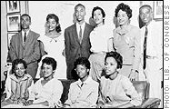 """(Little Rock, Ark.) Formerly all-white Central High School learns that integration is easier said than done. Nine black students are blocked from entering the school on the orders of Governor Orval Faubus. President Eisenhower sends federal troops and the National Guard to intervene on behalf of the students, who become known as the """"Little  Read more: Civil Rights Movement Timeline (14th Amendment, 1964 Act, Human Rights Law)"""