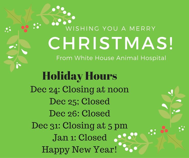 White House Animal Hospital has the following Holiday Schedule - holiday request form