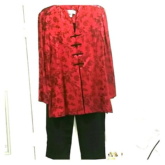 """SALE!!   Red and Black Jessica Howard Pant Suit LIKE NEW!  This is a beautiful rich red and black pant suit.  Buttons down the front and vents on the sides.  The jacket has darts down the front sides for a very flattering fit.  Pants are black with elastic waistband.  The jacket is a tunic style.  It says misses sz 6.  I was a sz 6/8 when I wore it.  Jacket is 19"""" across bust.  16 1/2"""" across waist.  29"""" long.  Pants are 13""""across unstretched and 16"""" stretched.  40"""" outer leg measurement…"""