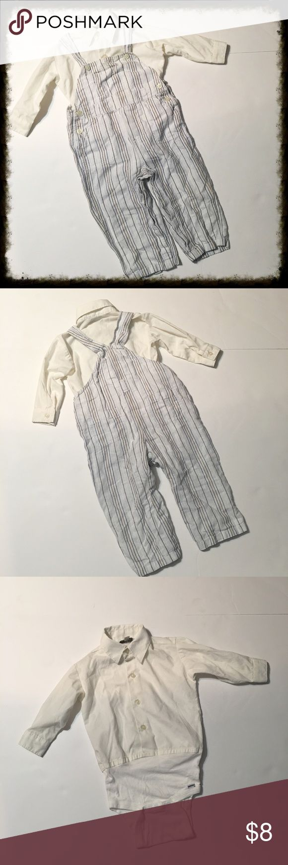Baby Gap Linen Overalls with Button Down Onesie BabyGap light blue overalls are 55% linen 45% cotton. Machine washable. The white undershirt is a button-down with long sleeves and a onesie snap bottom. Overalls are size 18-24 month. Shirt is size 24 month.  *15% off bundles (you may bundle items from this closet & my women's closet @poshmishmosh) *No trades *Feel free to make an offer *Happy poshing 😊 Matching Sets