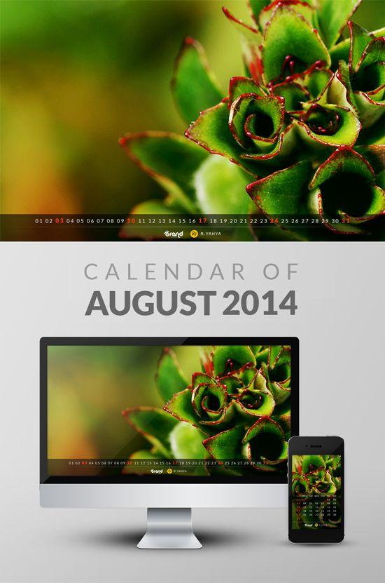 Free Wallpaper Calendar of August 2014