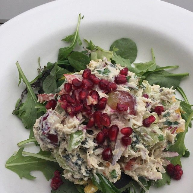 CC's chilled #freerangechicken salad with natural yoghurt, a perfect blend of spices, & goji berries #yummy