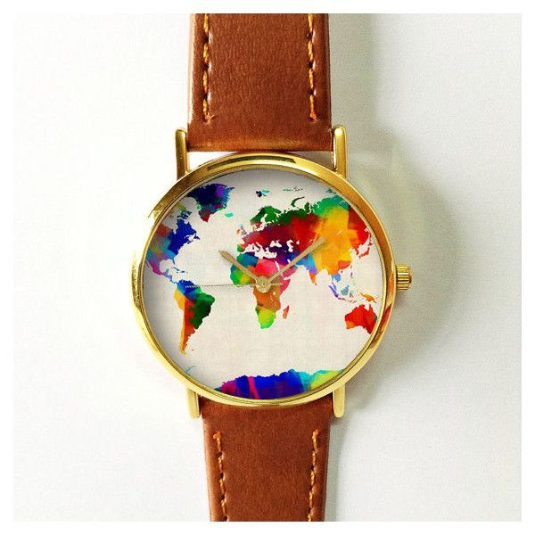 Digital Colored World Map Watch Leather Watch Women by FreeForme (540 PHP) found on Polyvore