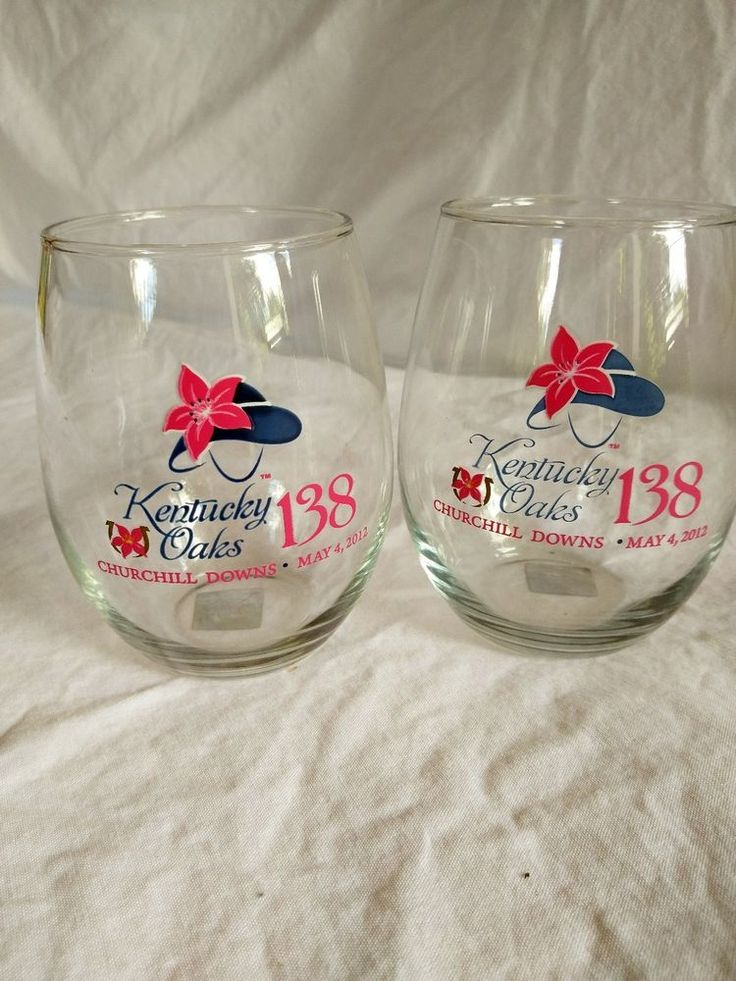 (2) 2012 Kentucky Oaks 138th  Lily 12oz Stemless Wine Glasses Churchill Downs #Unbranded