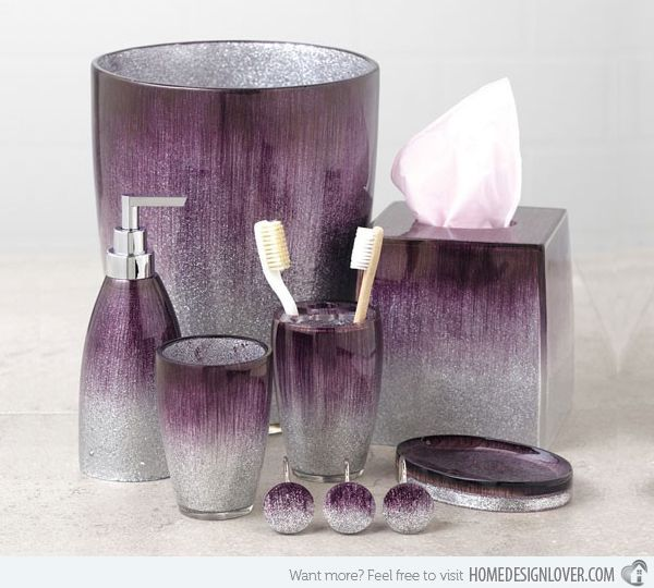 15 elegant purple bathroom accessories home design my for Grey silver bathroom accessories