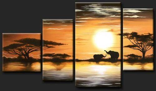 Cuadros modernos tripticos polipticos paisajes africanos for Cuadros tripticos grandes