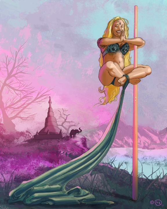 Title Floating Yogini Medium Pencil Digital Painting 2012 Dance ArtDigital PaintingsPole