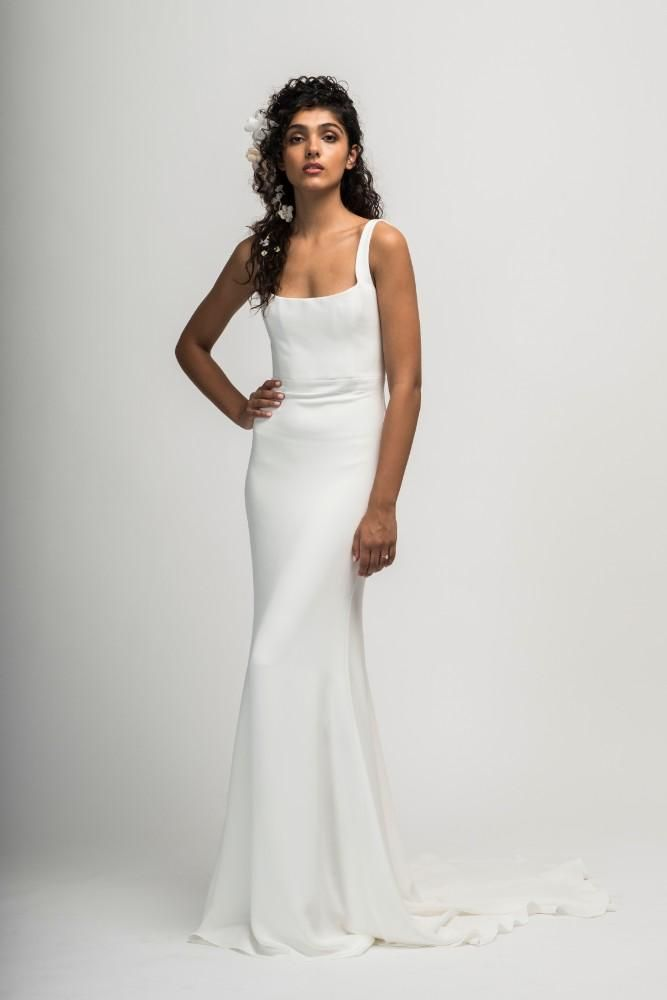 Alexandra Grecco Fall 2019 Collection The Celebration Society Minimalist Wedding Dresses Untraditional Wedding Dress Alexandra Grecco Bridal