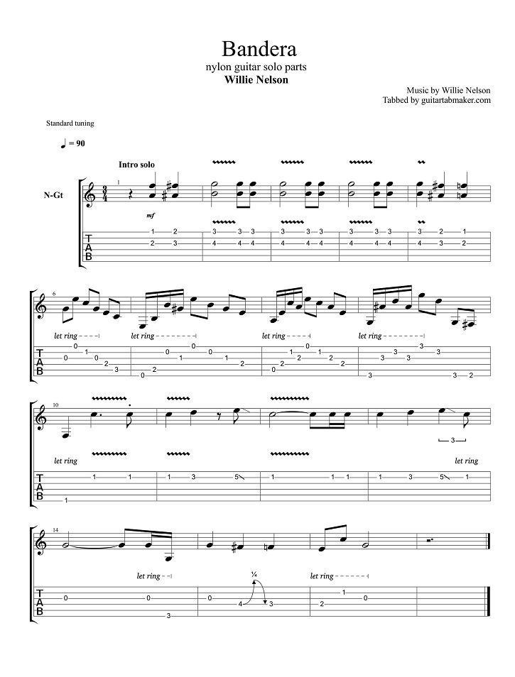 Willie Nelson Bandera Guitar Tabs Acoustic Pdf Acoustic Guitar Sheet Music Download Guitar Pro Tab Instrumental Acoustic Guitar Song Acoustic Guitar S