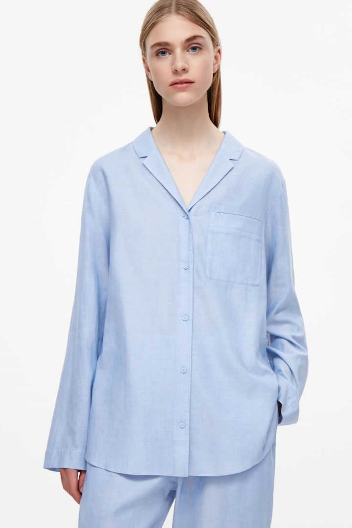 COS image 4 of Flannel pyjama shirt in Periwinkle