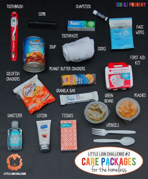 How to Make Homeless Care Packages - Little Lion Challenge. Check out crowdserve.org for more ideas!  Addition: it's a good idea to add in sanitary period products (pads/tampons) as those who do not have them will try to get the most with every use, risking TSS.