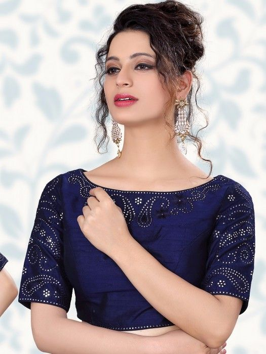 Shop Navy raw silk ready made blouse online from G3fashion India. Brand - G3, Product code - G3-RB0379, Price - 7895, Color - Navy, Fabric - Raw Silk,