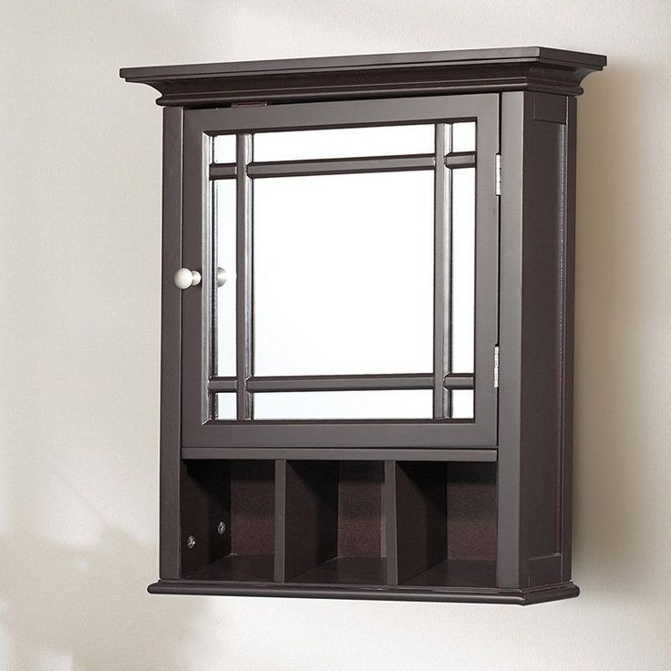 Bathroom Mirror Medicine Cabinet 1 Adjustable Shelf 3 Open Cubbies Espresso