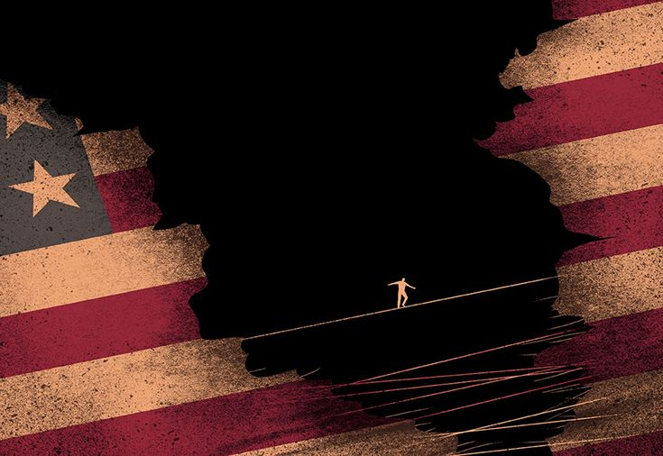 Davide Bonazzi - Torn USA after election. Published on The Boston Globe. #conceptual #editorial #illustration #USA #election2016 #vote #flag #wire #davidebonazzi