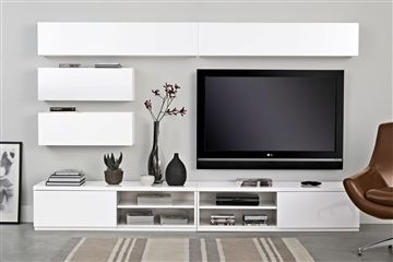 ikea - use two and stack them so the tv is higher - set tv on top and surround with beautiful items. also, i would do open shelves around the tv not closed