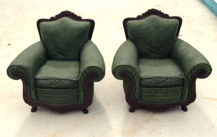 DOLLS HOUSE FURNITURE 2 ARMCHAIRS RAINE 2000 VIRIDIAN 24013 | eBay