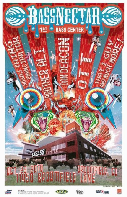 Concert poster for Bassnectar / Brother Ali / Dan Deacon at The First Bank Center in Broomfield, CO in 2010. 11x17 card stock.