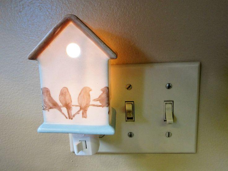 Night Light Plug In Birdhouse Porcelain Ceramic Vintage Bb