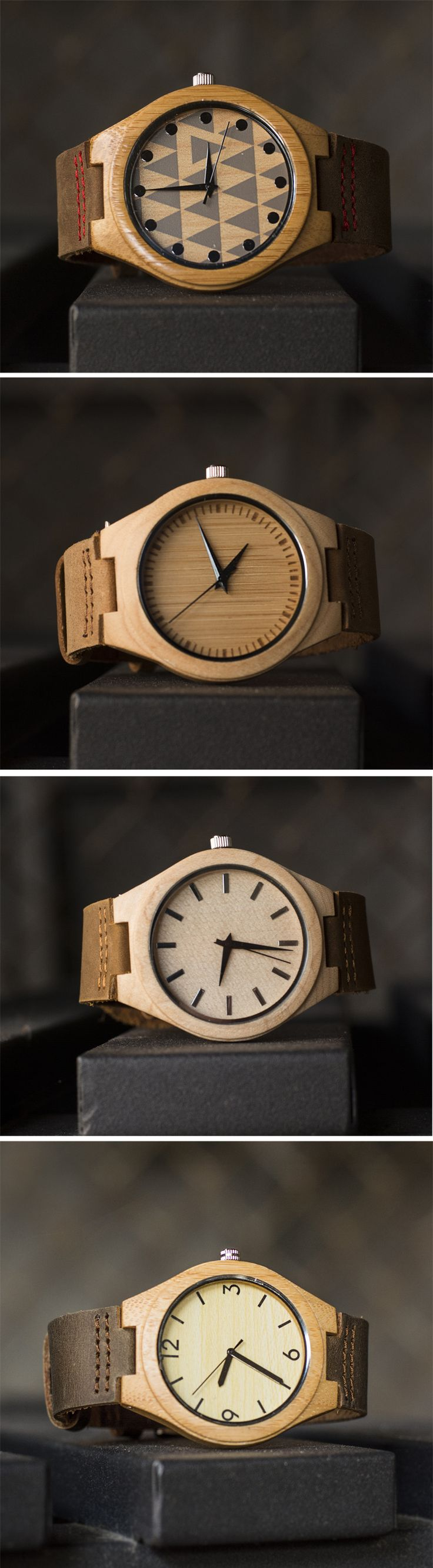 UD Wood Face Bamboo Wooden Watch with Genuine Leather Strap Quartz Analog Casual Wooden Wrist Watches, Gift for Her and Him