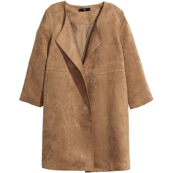 H&M Short coat (240 RON) ❤ liked on Polyvore featuring outerwear, coats, jackets, tops, dark camel, h&m coats, h&m, camel coat, brown coat and short coat