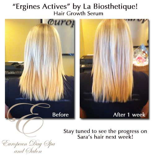 """""""Ergines Actives"""" by La Biosthetique! - A hair growth serum for existing thin hair. Our very own Sara is testing the product over the course of a few weeks and here is her before and after picture. If you are interested in ordering this awesome product """"Ergines Actives"""" by La Biosthetique, please drop in or call the Spa at (604) 852-2228 and we'd be happy to place an order for you!"""