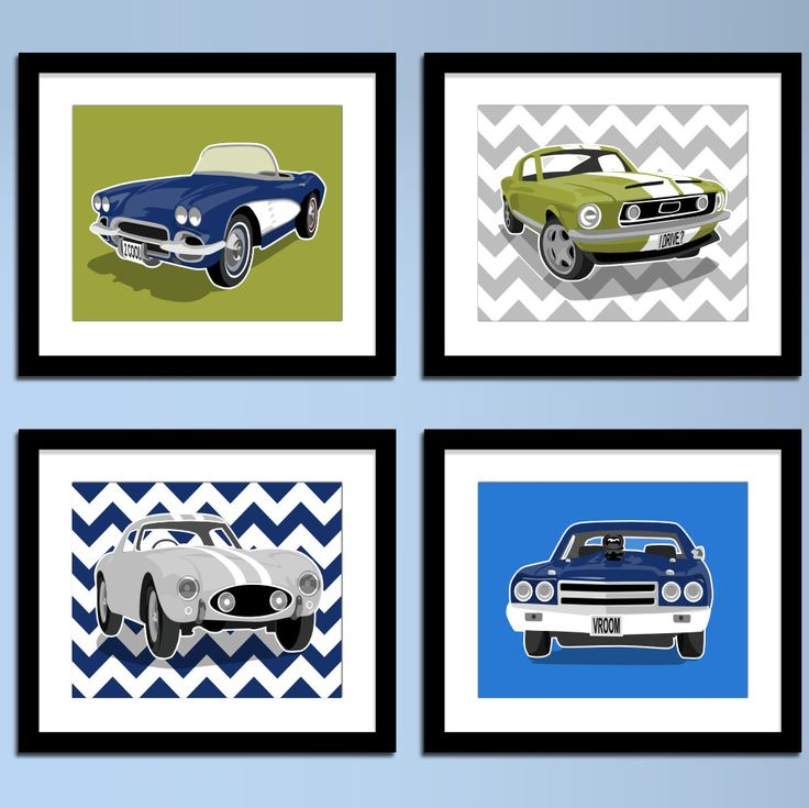 Childrens art - 1970 Chevy Chevell SS - wall art - Vintage sports cars - boys art prints - nursery art - pick your colors
