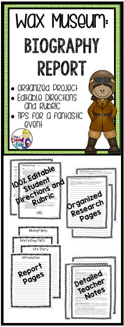 """Updated! This Wax Museum Project will help your students create an amazing biography research report on a famous person. The culminating part of the project is a Wax Museum, where students dress up as the person they have learned about and stand """"still"""", like a Wax Museum, until someone walks up to them and presses the """"button"""" on their backdrop. Then students give a short 3 - 4 sentence speech about that person's life. Great learning experience for kids and good P.R. (TpT Resource)"""