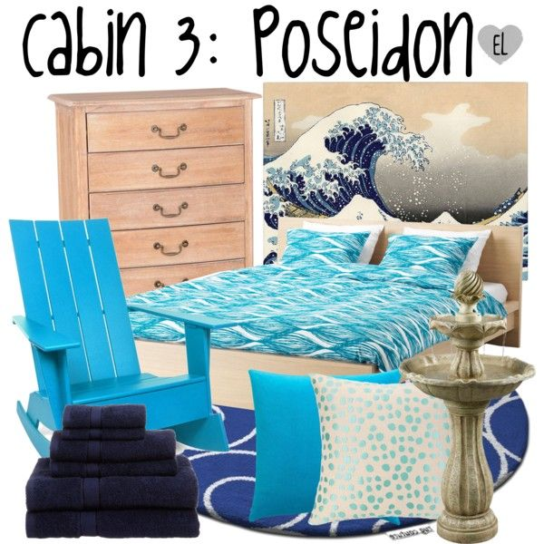 Cabin 3: Poseidon (2) -- Percy Jackson & the Olympians by evil-laugh on Polyvore featuring interior, interiors, interior design, home, home decor, interior decorating, Modena, Pinzon, Loll Designs and CB2